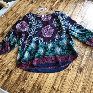 Alya women's three-quarter sleeve tunic blouse